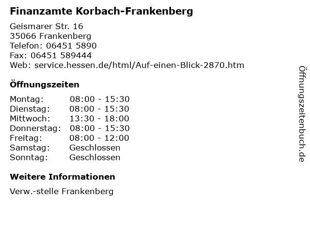 Finanzamte Korbach-Frankenberg in Frankenberg: Adresse und Öffnungszeiten