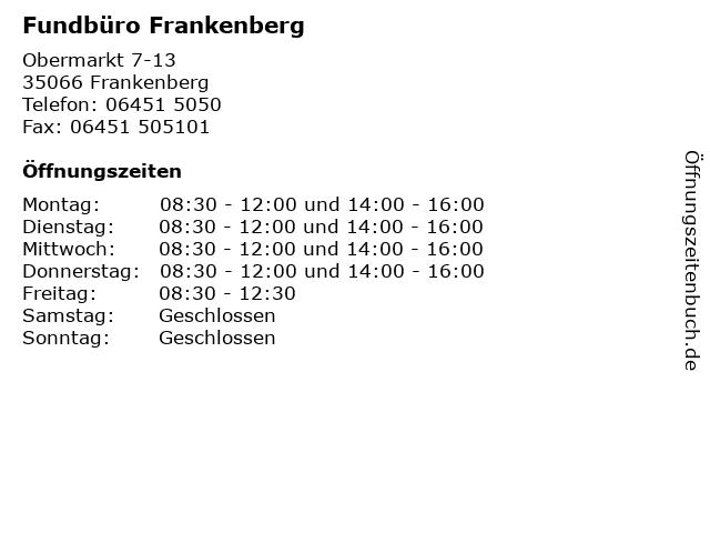Fundbüro Frankenberg in Frankenberg: Adresse und Öffnungszeiten