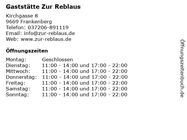 Gaststätte Zur Reblaus in Frankenberg: Adresse und Öffnungszeiten