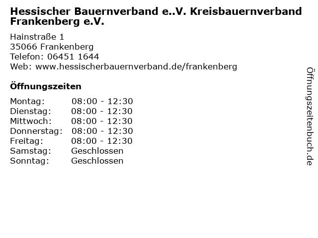 Hessischer Bauernverband e..V. Kreisbauernverband Frankenberg e.V. in Frankenberg: Adresse und Öffnungszeiten