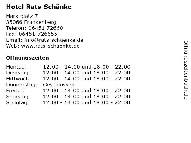 Hotel Rats-Schänke in Frankenberg: Adresse und Öffnungszeiten