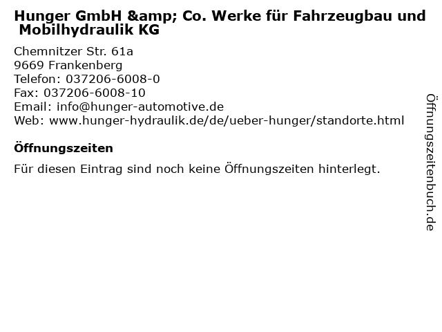Hunger GmbH & Co. Werke für Fahrzeugbau und Mobilhydraulik KG in Frankenberg: Adresse und Öffnungszeiten