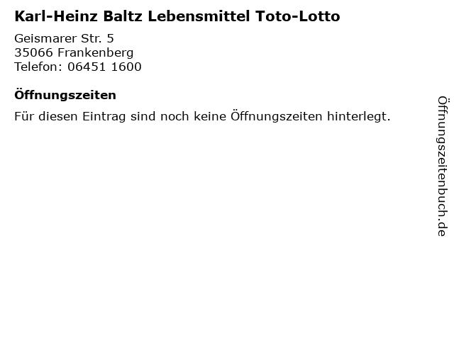 Karl-Heinz Baltz Lebensmittel Toto-Lotto in Frankenberg: Adresse und Öffnungszeiten