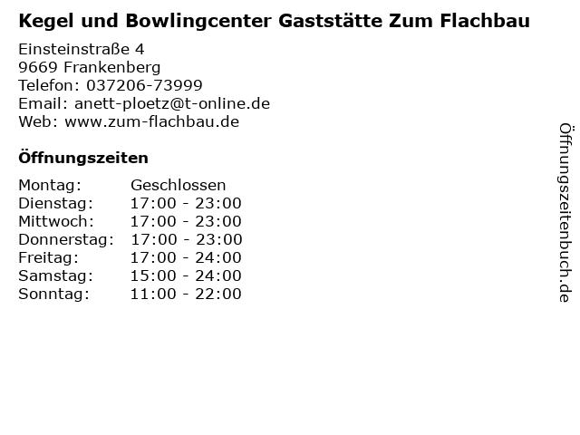 Kegel und Bowlingcenter Gaststätte Zum Flachbau in Frankenberg: Adresse und Öffnungszeiten
