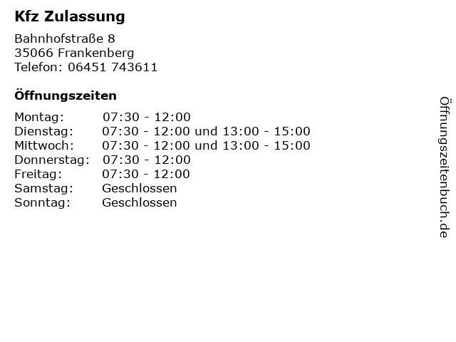 Kfz Zulassung in Frankenberg: Adresse und Öffnungszeiten