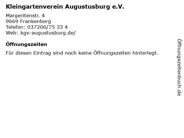 Kleingartenverein Augustusburg e.V. in Frankenberg: Adresse und Öffnungszeiten