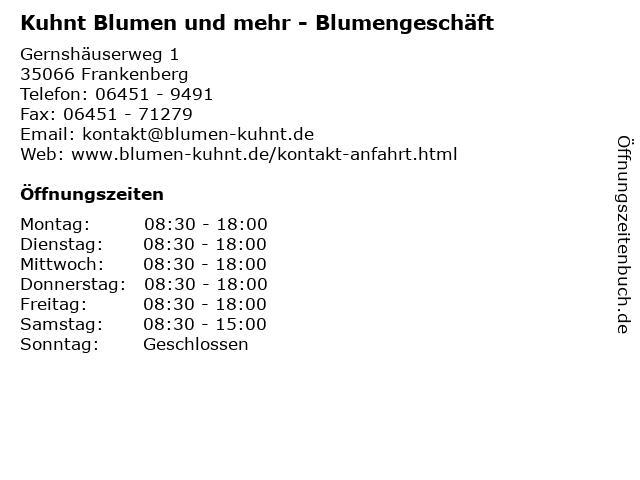 Kuhnt Blumen und mehr - Blumengeschäft in Frankenberg: Adresse und Öffnungszeiten