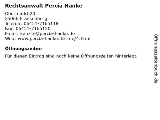 Rechtsanwalt Percia Hanke in Frankenberg: Adresse und Öffnungszeiten