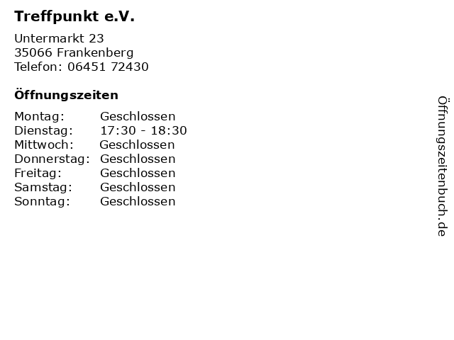 Treffpunkt e.V. in Frankenberg: Adresse und Öffnungszeiten