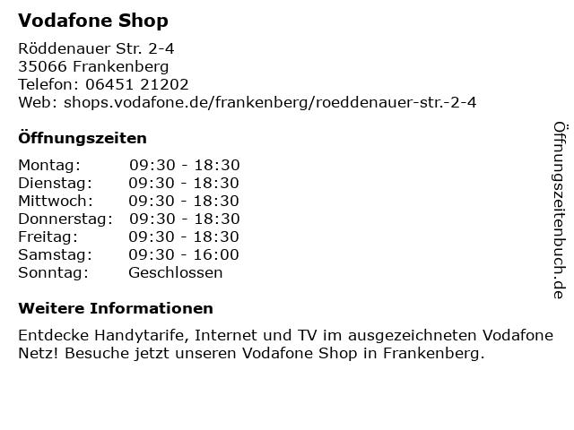 Vodafone Shop in Frankenberg (Eder): Adresse und Öffnungszeiten