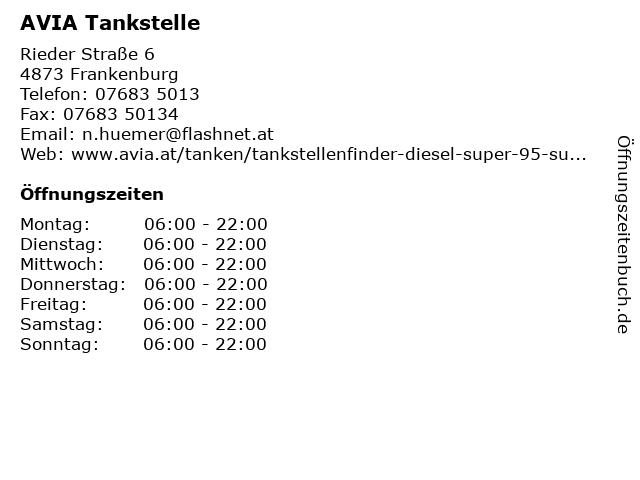 AVIA Tankstelle in Frankenburg: Adresse und Öffnungszeiten