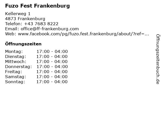 Fuzo Fest Frankenburg in Frankenburg: Adresse und Öffnungszeiten