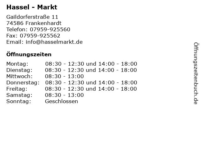 Hassel - Markt in Frankenhardt: Adresse und Öffnungszeiten