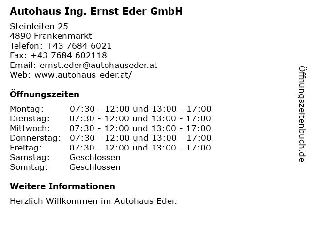 Autohaus Fink GmbH - Service + Teiledienst in Frankenmarkt: Adresse und Öffnungszeiten