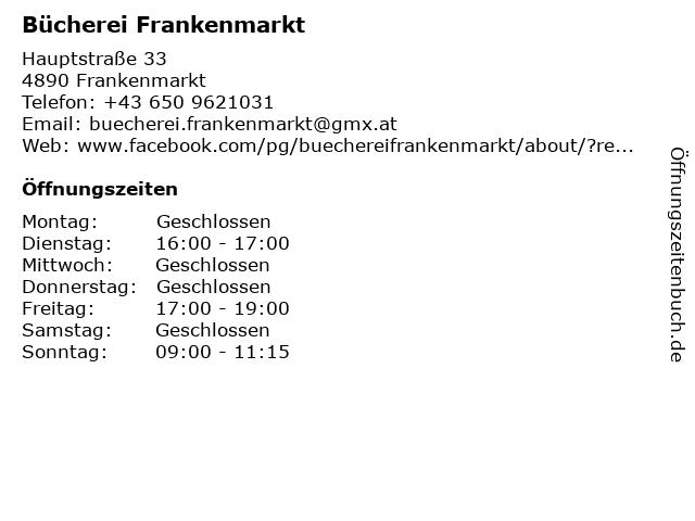 Bücherei Frankenmarkt in Frankenmarkt: Adresse und Öffnungszeiten