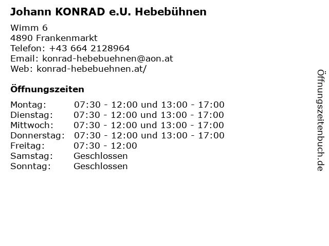 Johann KONRAD e.U. Hebebühnen in Frankenmarkt: Adresse und Öffnungszeiten
