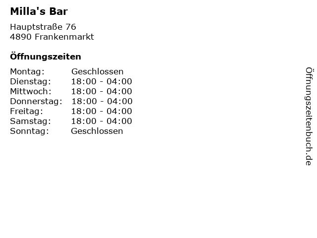 Milla's Bar in Frankenmarkt: Adresse und Öffnungszeiten