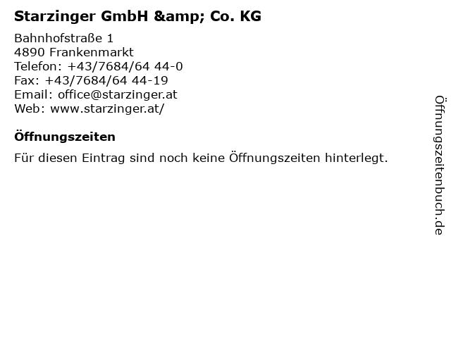 Starzinger GmbH & Co. KG in Frankenmarkt: Adresse und Öffnungszeiten