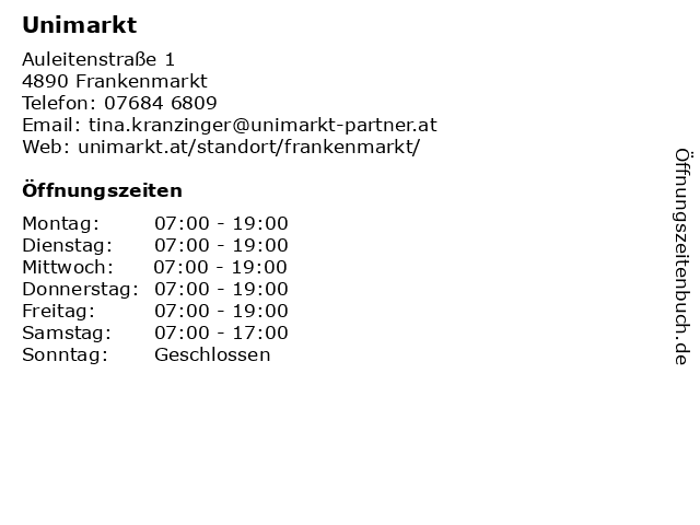 Unimarkt in Frankenmarkt: Adresse und Öffnungszeiten