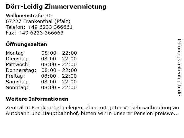 Dörr-Leidig Zimmervermietung in Frankenthal (Pfalz): Adresse und Öffnungszeiten