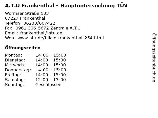 A.T.U Frankenthal - Hauptuntersuchung TÜV in Frankenthal: Adresse und Öffnungszeiten