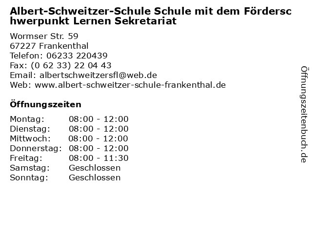 Albert-Schweitzer-Schule Schule mit dem Förderschwerpunkt Lernen Sekretariat in Frankenthal: Adresse und Öffnungszeiten