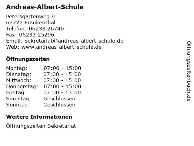 Andreas-Albert-Schule in Frankenthal: Adresse und Öffnungszeiten
