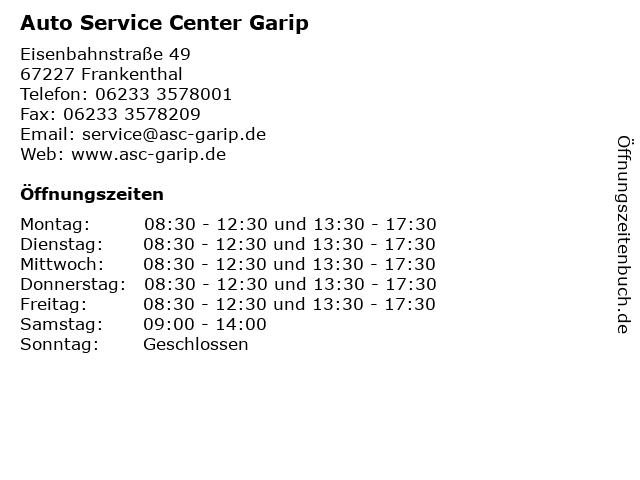 Auto Service Center Garip in Frankenthal: Adresse und Öffnungszeiten