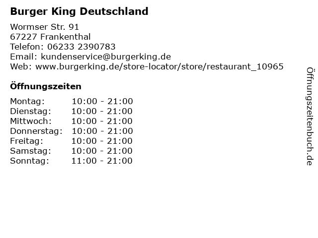 Burger King Deutschland GmbH in Frankenthal: Adresse und Öffnungszeiten