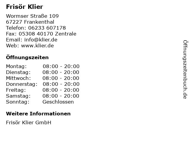 Frisör Klier GmbH in Frankenthal: Adresse und Öffnungszeiten