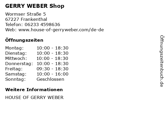 GERRY WEBER Shop in Frankenthal: Adresse und Öffnungszeiten