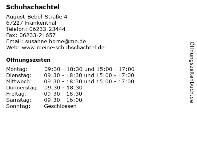 Schuhschachtel in Frankenthal: Adresse und Öffnungszeiten