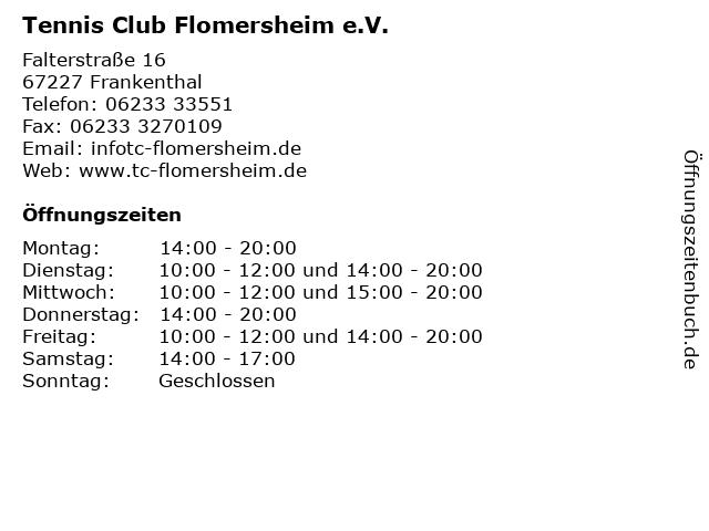 Tennis Club Flomersheim e.V. in Frankenthal: Adresse und Öffnungszeiten