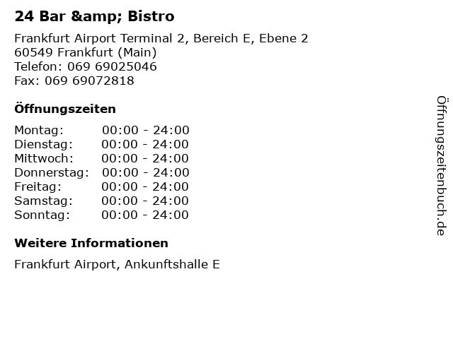 24 Bar & Bistro in Frankfurt (Main): Adresse und Öffnungszeiten