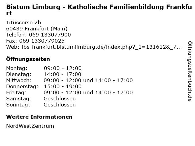 Bistum Limburg - Katholische Familienbildung Frankfurt in Frankfurt (Main): Adresse und Öffnungszeiten