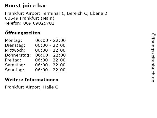 Boost juice bar in Frankfurt (Main): Adresse und Öffnungszeiten