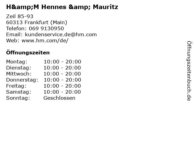 ᐅ öffnungszeiten Hm Hennes Mauritz Zeil 85 93 In Frankfurt