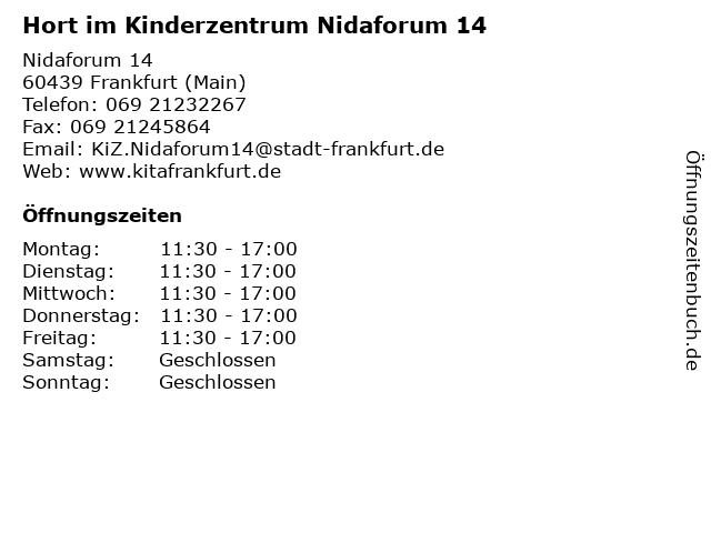 Hort im Kinderzentrum Nidaforum 14 in Frankfurt (Main): Adresse und Öffnungszeiten