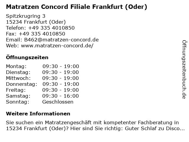 Matratzen Concord GmbH in Frankfurt (Main): Adresse und Öffnungszeiten