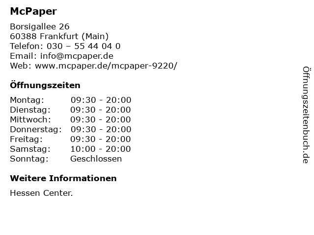 McPaper AG in Frankfurt (Main): Adresse und Öffnungszeiten