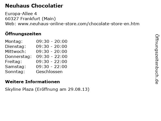 Neuhaus Chocolatier in Frankfurt (Main): Adresse und Öffnungszeiten