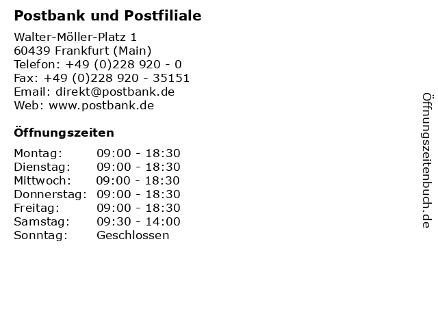Postbank und Postfiliale in Frankfurt (Main): Adresse und Öffnungszeiten
