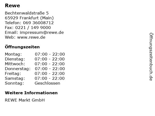 Rewe in Frankfurt (Main): Adresse und Öffnungszeiten