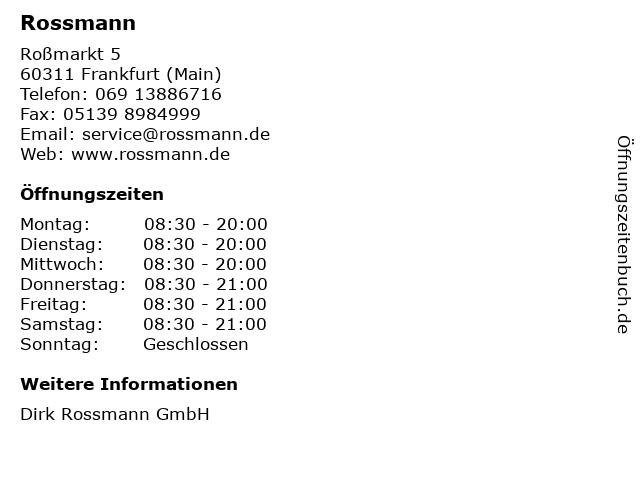 Rossmann in Frankfurt (Main): Adresse und Öffnungszeiten