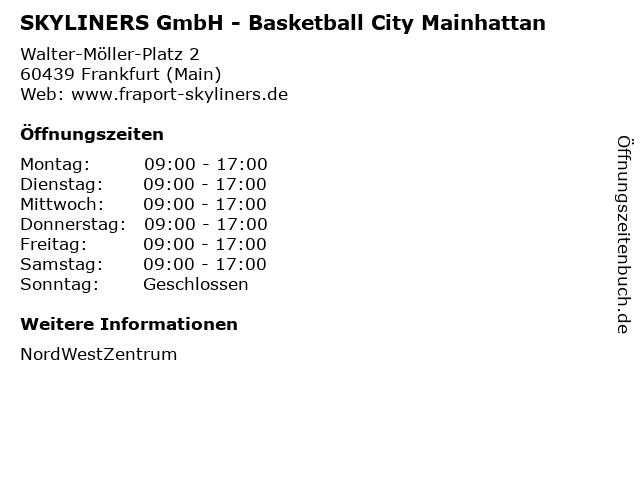 SKYLINERS GmbH - Basketball City Mainhattan in Frankfurt (Main): Adresse und Öffnungszeiten