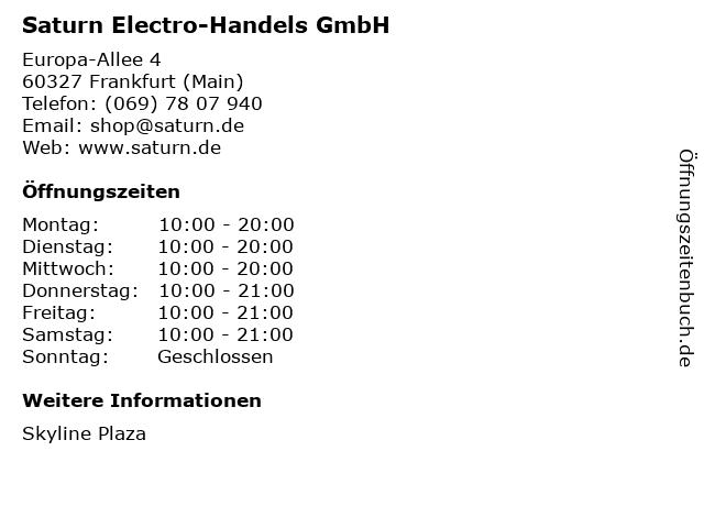 Saturn Electro-Handels GmbH in Frankfurt (Main): Adresse und Öffnungszeiten