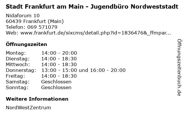 Stadt Frankfurt am Main - Jugendbüro Nordweststadt in Frankfurt (Main): Adresse und Öffnungszeiten