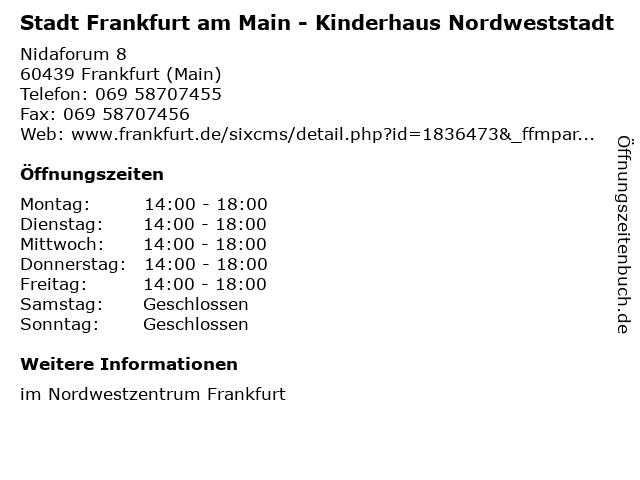 Stadt Frankfurt am Main - Kinderhaus Nordweststadt in Frankfurt (Main): Adresse und Öffnungszeiten