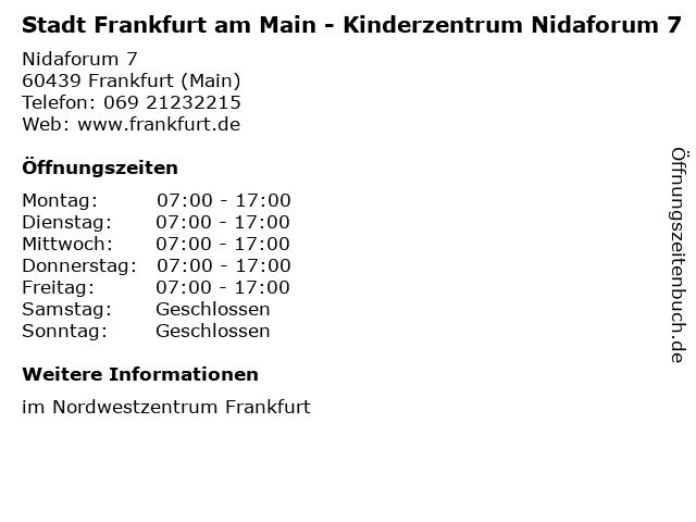 Stadt Frankfurt am Main - Kinderzentrum Nidaforum 7 in Frankfurt (Main): Adresse und Öffnungszeiten