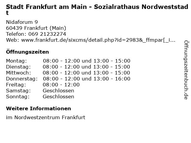 Stadt Frankfurt am Main - Sozialrathaus Nordweststadt in Frankfurt (Main): Adresse und Öffnungszeiten